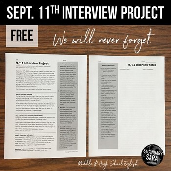 FREE September 11th Interview Project: Writing & Research for Secondary ELA