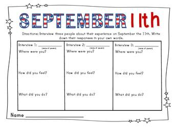 September 11th Packet {Discussion, Brainstorm, and Writing Handouts}