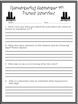 September 11th Parent Interview! Freebie!