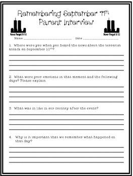 September 11th Parent Interview! Freebie!