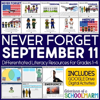 September 11 - Patriot Day - 9/11 Heroes - Literacy Bundle