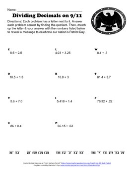 September 11th - Patriot Day Dividing Decimals Worksheet