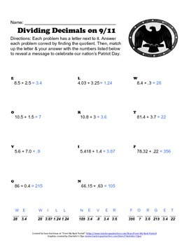 September 11th - Patriot Day Dividing Decimals Worksheet by From My ...