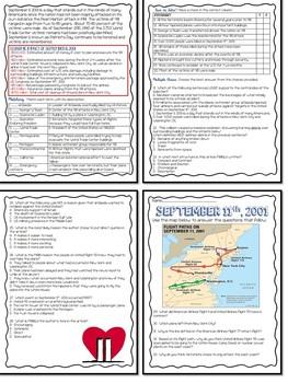 September 11th Reading Comprehension- Informational, Poems