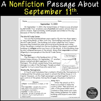 September 11th Reading Comprehension Paired Passages