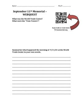 September 11th Webquest - QR Code Enabled