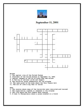 September 11th Word Search and Crossword Puzzle