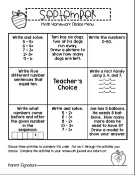 September 1st Grade Homework Choice Menu