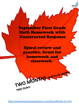 September 1st grade Math class/homework with Constructed Response