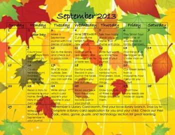 September 2013 Homework Calendar