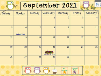 September 2017 Activboard Calendar Activities
