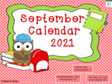 September 2018 Activboard Calendar Activities