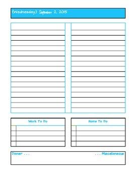 September 2015 Daily Two Prep Planner