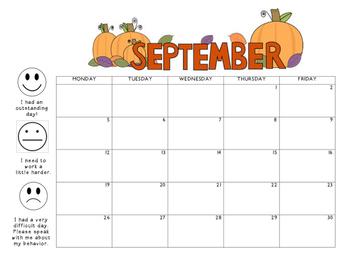 September 2016 Behavior Calendar