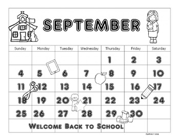 September 2016 Calendar and Back to School Coloring Page