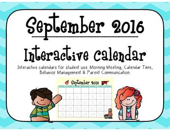 September 2016 Interactive Student Calendar
