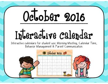 October 2016 Interactive Student Calendar