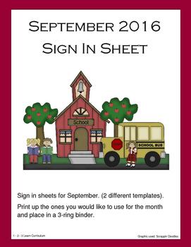 September 2016 Sign In Sheets