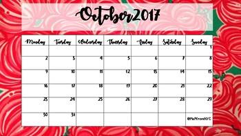 September 2017-2018 Calendar