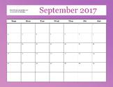 September 2017 Teacher Calender
