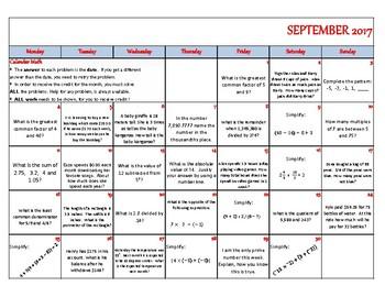 September 2017 - Calendar Math