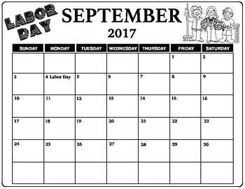 September 2017 Labor Day Calendar