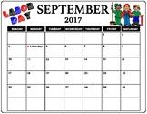 September 2017 Labor Day Calendar in color