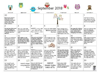 September 2018- Early Learning Activity Calendar