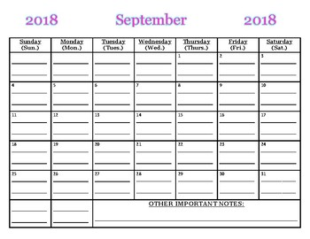 September 2018 calendar WITH lines!  (*PDF file) You must print/write on lines