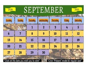 September 2020 Interactive Calendar/Lesson Planner-For any Class (Google Slides)