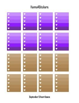 September 5 heart checklist printable planner stickers