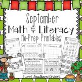 September Activities Math and Literacy No-Prep Printables