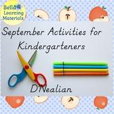 September Activities for Kindergarten D'Nealian  - Distanc