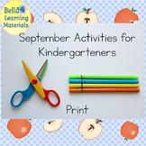 September Activities for Kindergarten Print   - Distance Learning