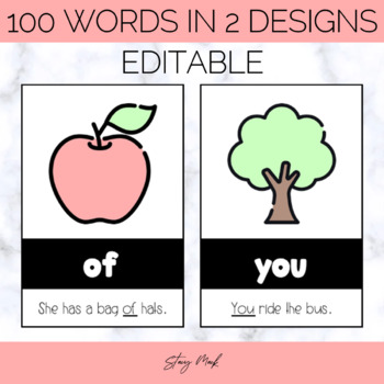 September Apple Kindergarten Sight Word Cards
