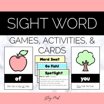 September Apple Kindergarten Sight Word Cards
