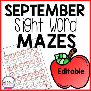 September Apple Sight Word Mazes