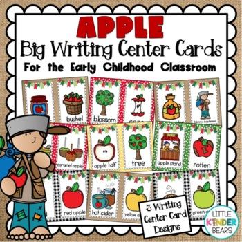 September Apple Themed Big Writing Center Cards