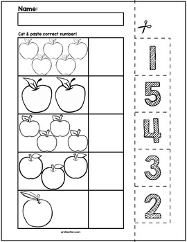 September Apples Cut & Match Worksheets | Numbers 1-5