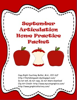 September Articulation Home Practice Packet