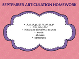 September Articulation Homework
