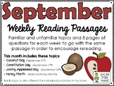 September BUNDLE of Weekly Reading Passage and Questions (