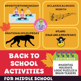 September Back to School Activities for Middle / High Scho
