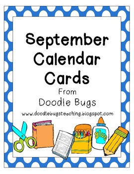 Calendario Free.September Back To School Calendar Cards Free