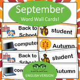 September, Back to School, Classroom Objects, Word Wall English Version!