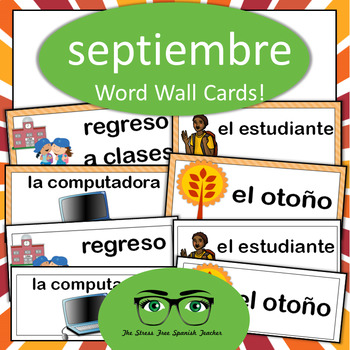 Spanish September Word Wall, Back to School, Classroom Objects