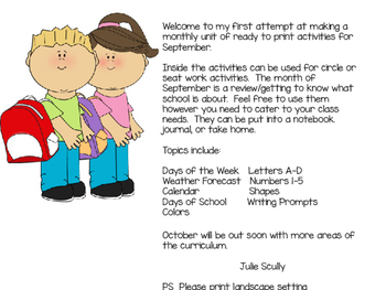 September- Back to School Interactive/Journal Ready to Print Activities