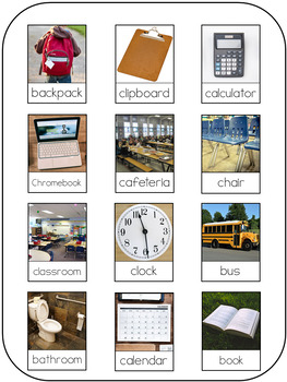 September Back to School Monthly Vocabulary Real World Functional Word Wall