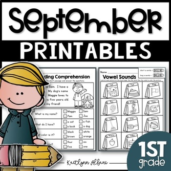 September Back to School Printables - Math and Literacy Packet for First Grade