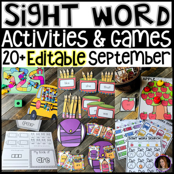 September Back to School Sight Word Printables, Games and Activities  {EDITABLE}